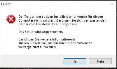 Intel UHD 630 und HD 4000, Grafiktreiber kann nicht
