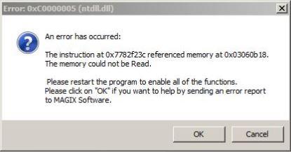 Sound Forge AS12-Error 0xC0000005