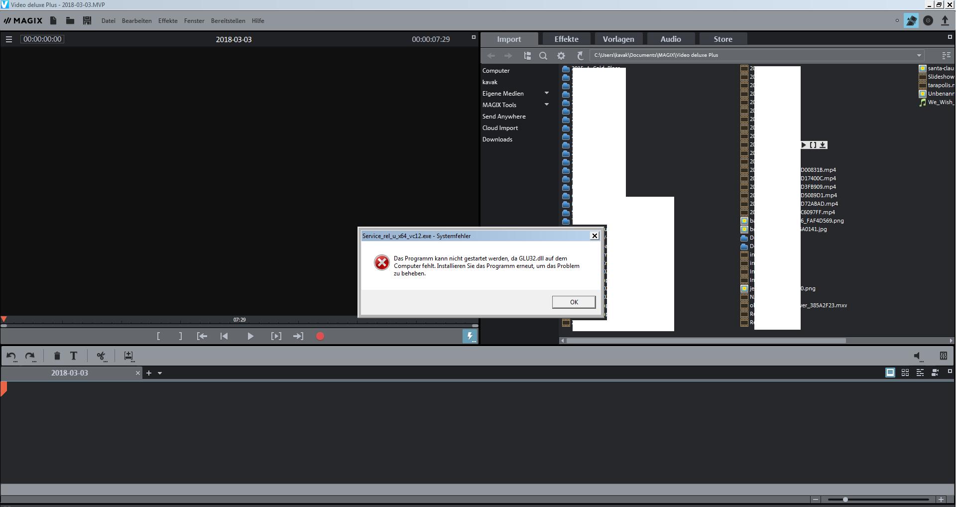 Video Deluxe Plus: Das Programm kann nicht gestartet werden, da GLU32