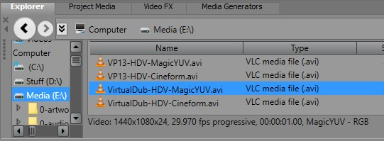 vlc could not decode the format cfhd no description for this codec