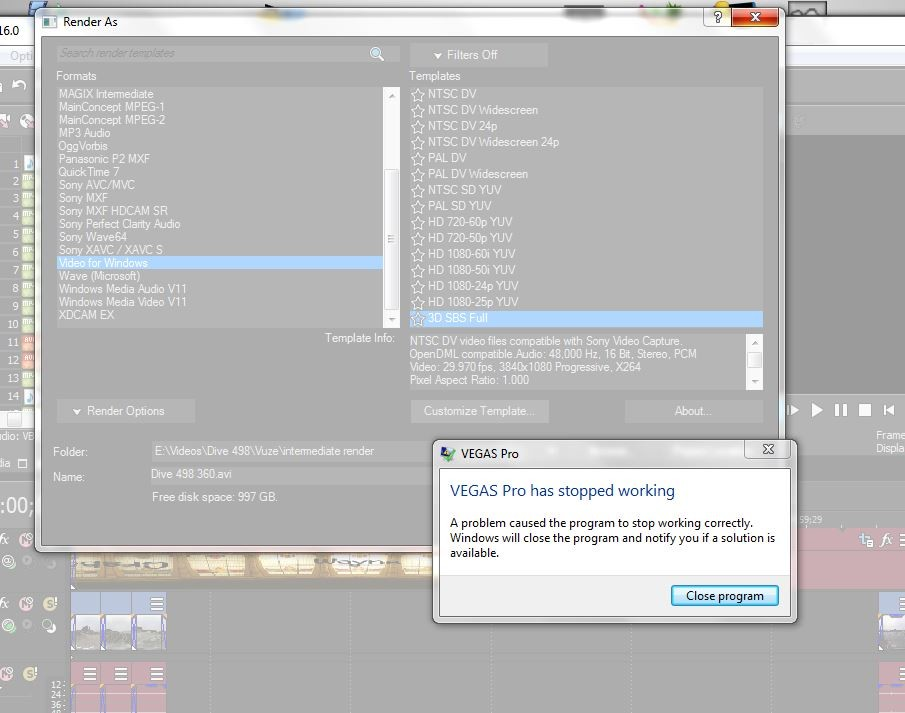Video For Windows Crash