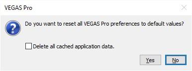 FAQ) How can I reset VEGAS Pro to default settings?