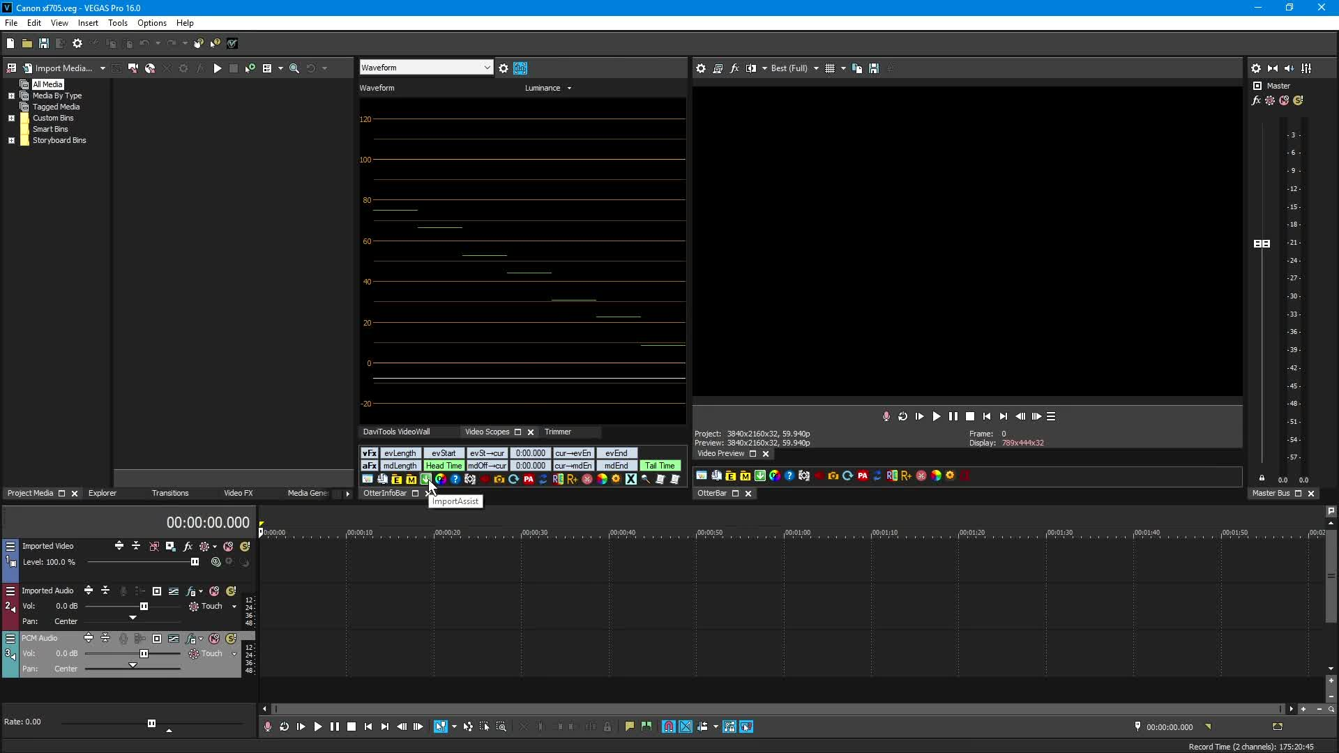Codec for a Canon XF705 using H 265 4:2:2 10-Bit with Vegas Pro 16